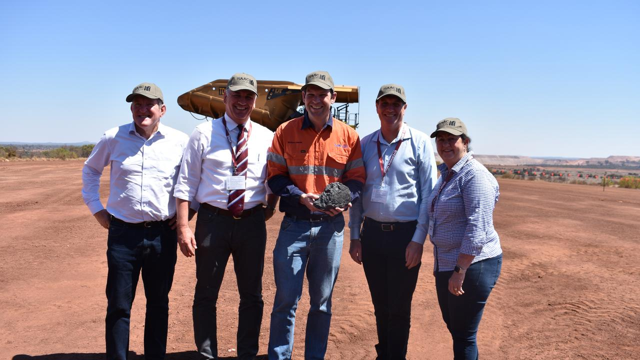 OPENING: Queensland Resources Council chief executive Ian Macfarlane, Burdekin MP Dale Last, Resources Minister Matt Canavan, Mines Minister Dr Anthony Lynham and Isaac Mayor Anne Baker at the official opening of Byerwen mine.