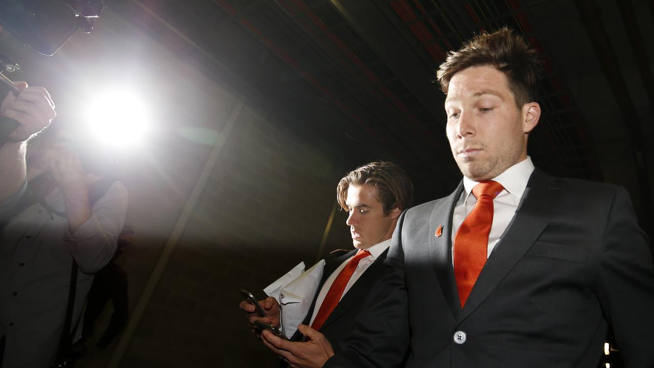 Toby Greene leaves the AFL Tribunal Hearing at AFL House.
