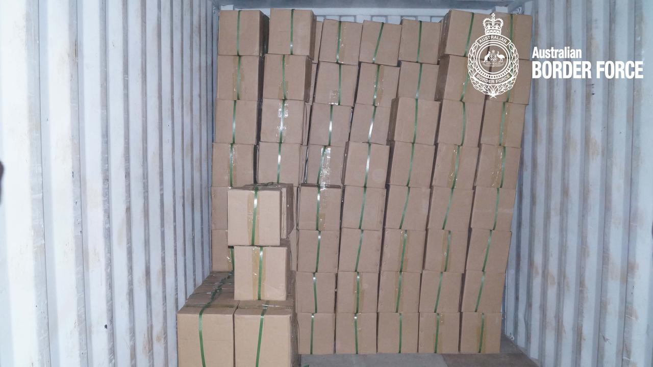 A shipment declared as furniture was X-rayed by ABF officers at the Sydney Container Examination facility. Picture: ABF