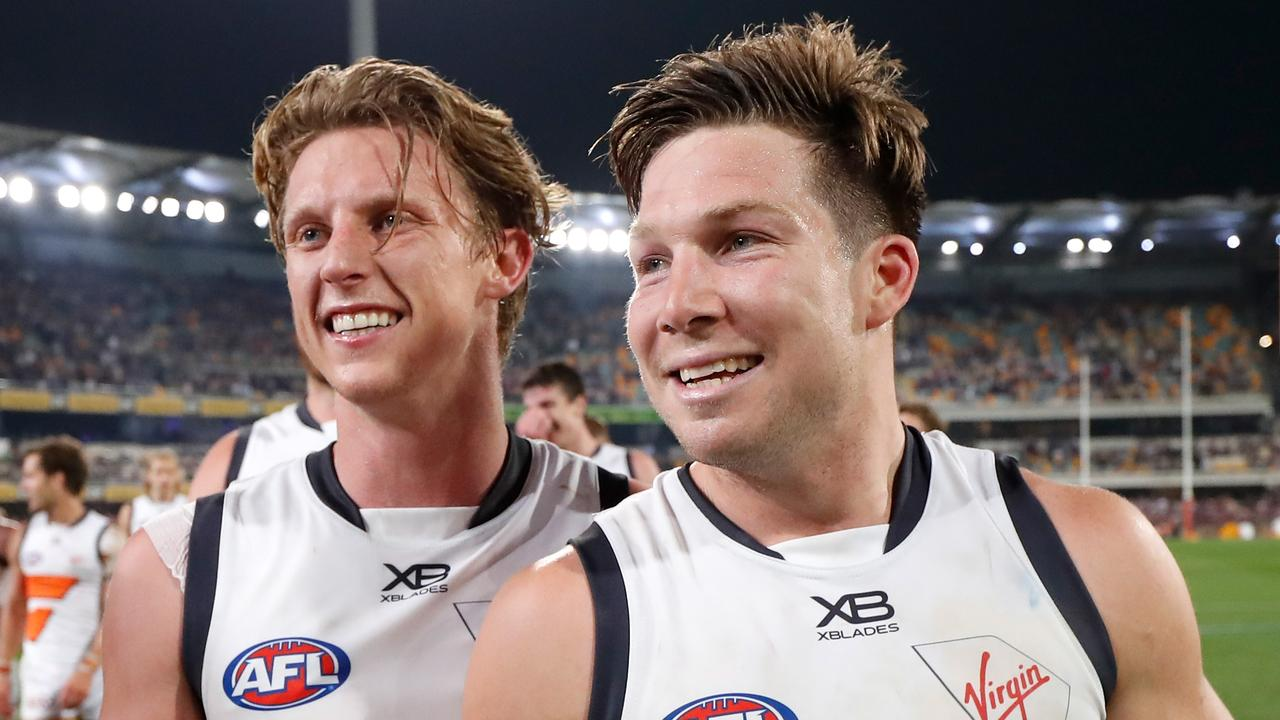 GWS Giants are facing being without Lachie Whitfield and Toby Greene for Saturday's preliminary final. Picture: Michael Willson/AFL Photos via Getty Images.