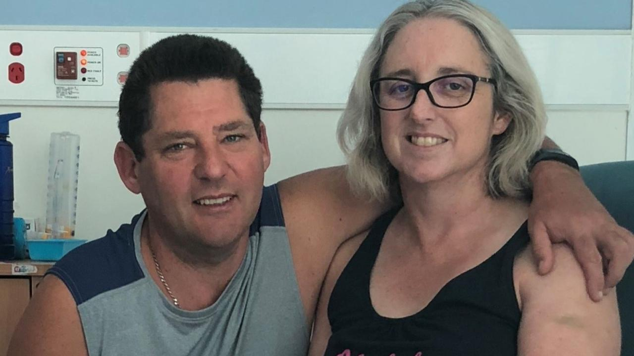 Justine Barwick and her husband Craig Barwick in hospital after Justine was attacked by a shark in the Whitsundays on September 19, 2018.