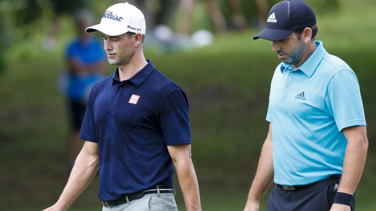 Garcia with Adam Scott during the 2017 PGA Championships. Photo: AAP Image/Glenn Hunt