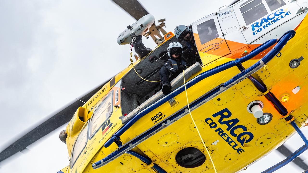 The RACQ CQ Rescue chopper located four fishermen off the coast of Mackay this morning.
