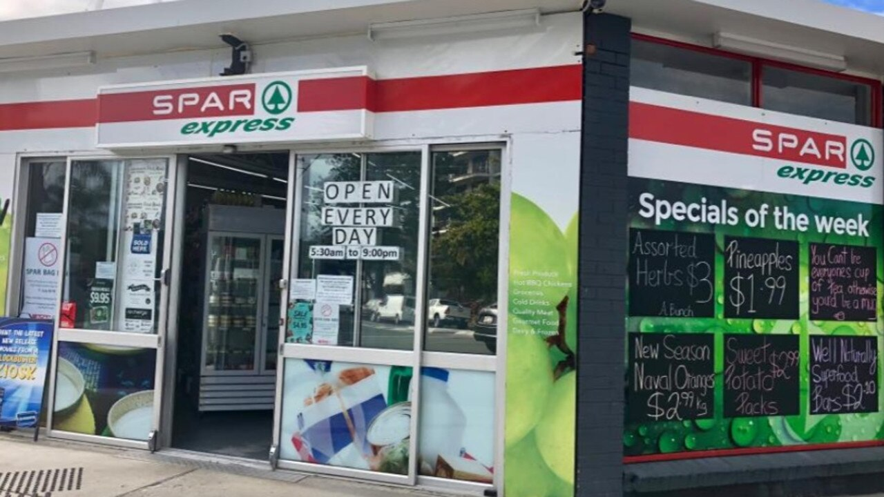 The Broadbeach SPAR Express where Logan youths allegedly smashed the front window twice in a month.