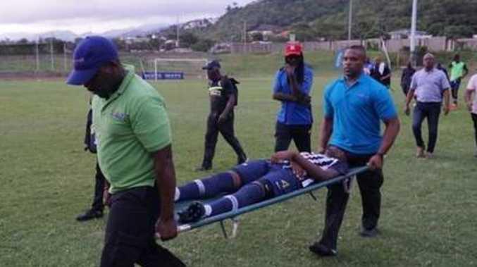 Lightning bolt strikes football players