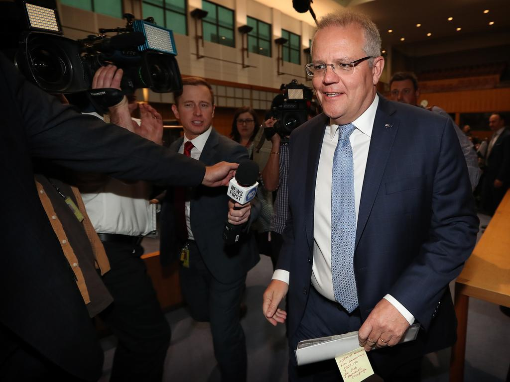 PM Scott Morrison after attending a Spinal Muscular Atrophy event at Parliament House in Canberra. Picture Kym Smith