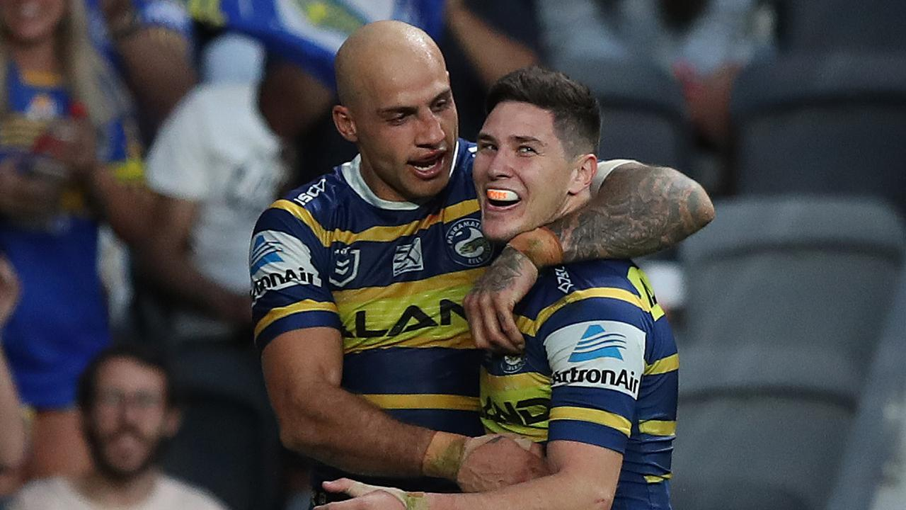 Mitchell Moses destroyed Brisbane at Bankwest Stadium. Picture: Brett Costello