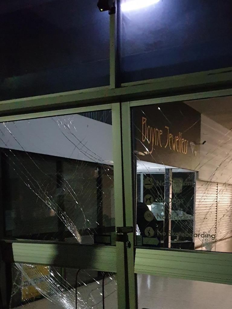 Damage to the Boyne Plaza doors.