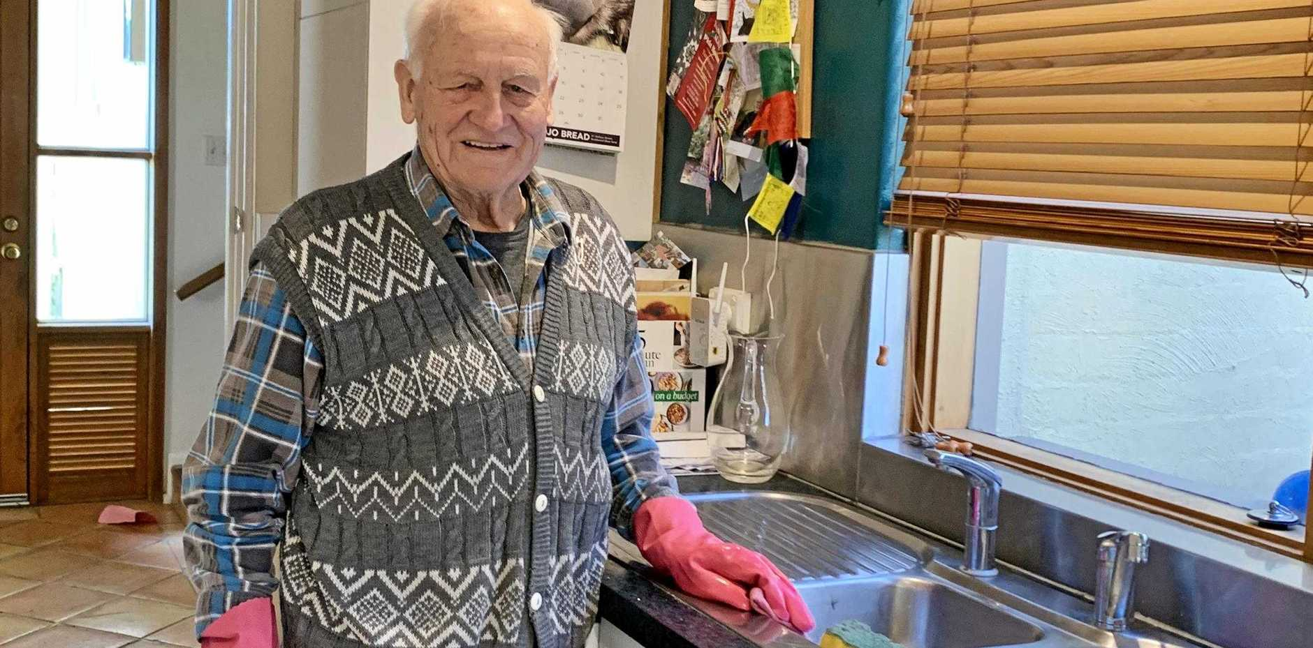 OLDEST WORKER: Werner Meinhold at 91 is still happily working.