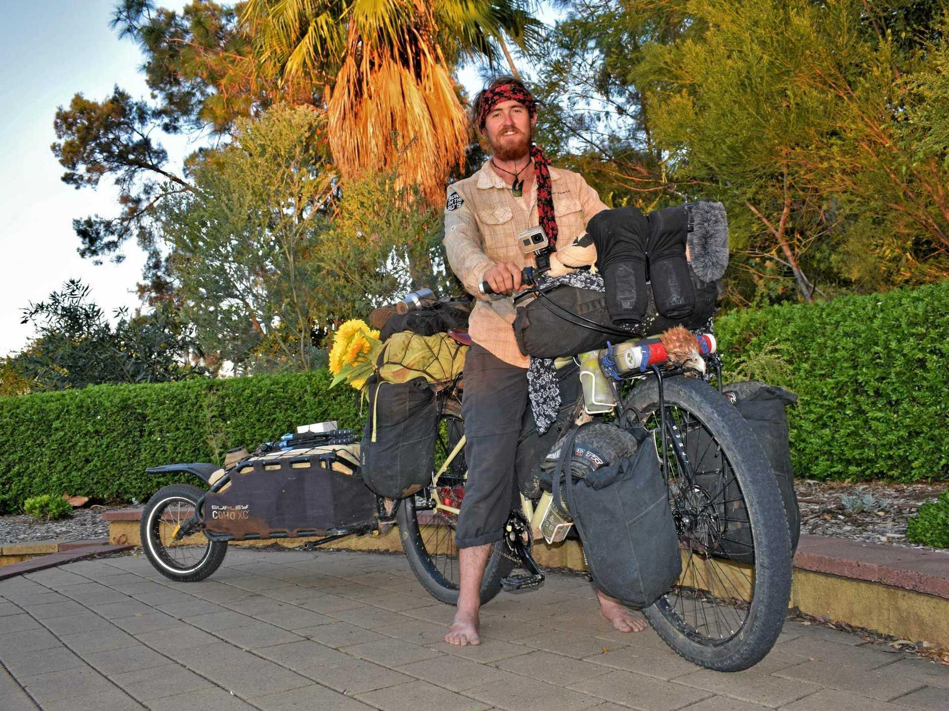 SEASONED ADVENTURER: Brando Yelavich is nearing the end of his 4,670km journey across Australia on a push bike.