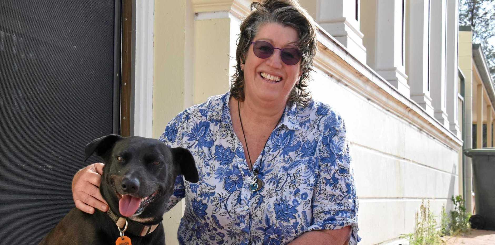 TOUGH ROAD: Single mum Lee McGregor with her dog, Darkie.