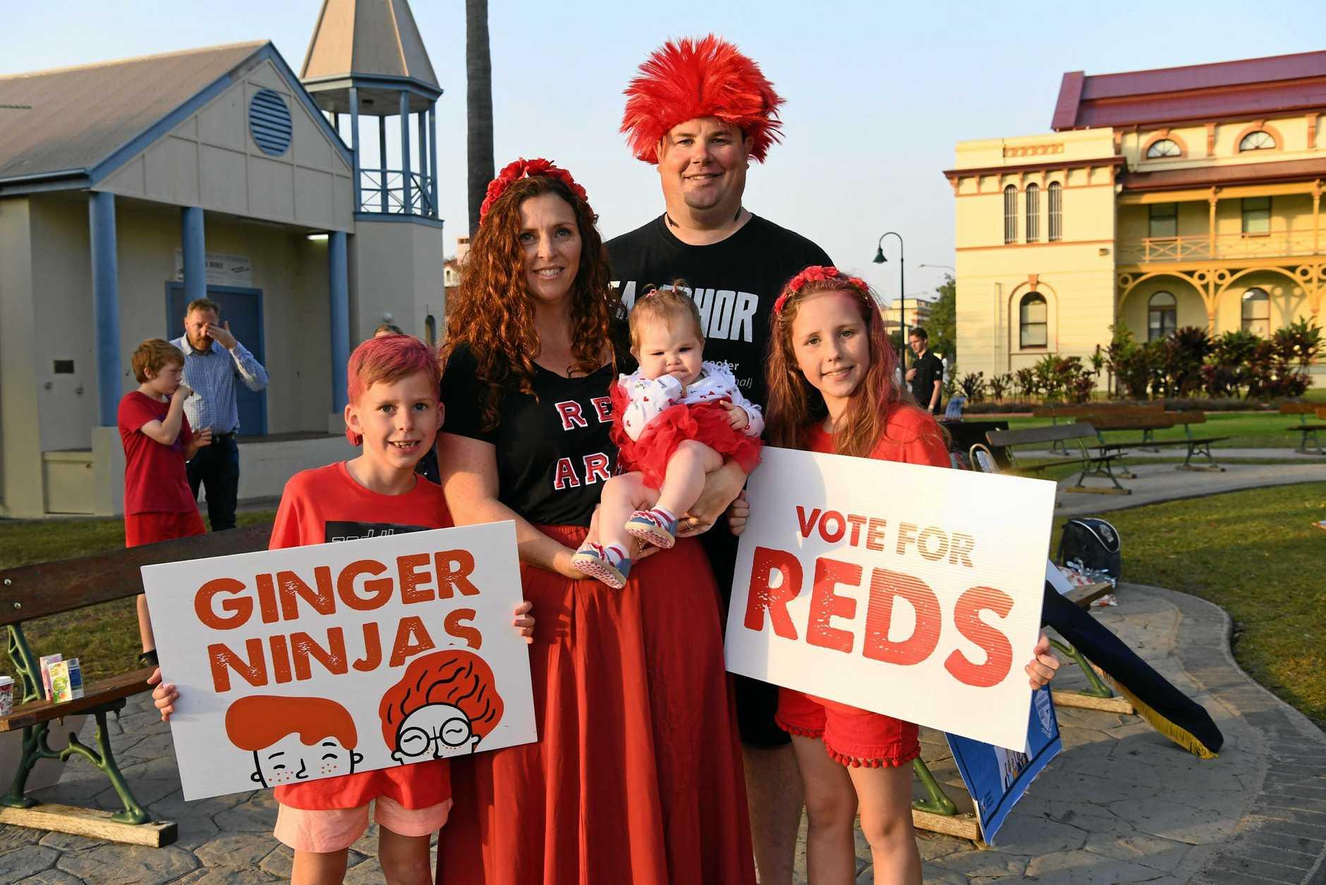 Redhead rally - (L) 7yo Jaxon Brenia, Maureen Murphy, Ayla Westlake, Brian Westlake and 9yo Cianna Brenia.