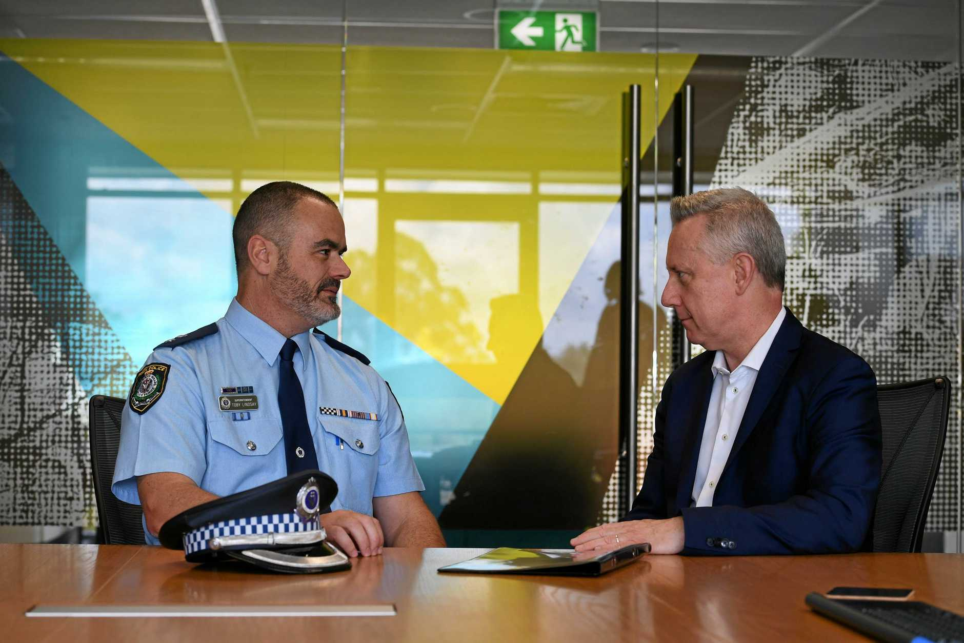 Southern Cross University vice chancellor and president Professor Adam Shoemaker and Richmond Police District Commander Superindendent Toby Lindsay discuss the lock down of Southern Cross University which occured on Tuesday afternoon.