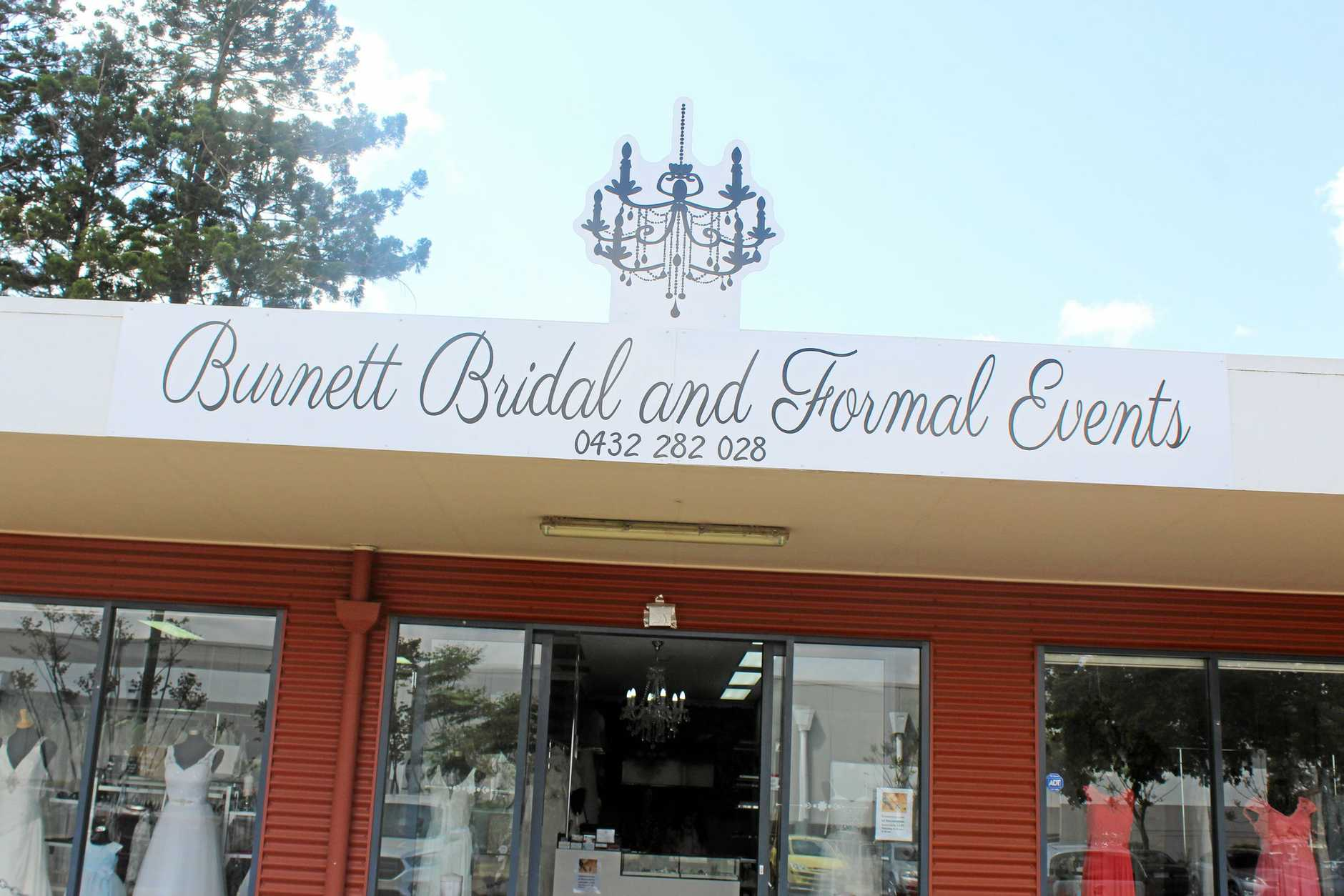 Outside the showroom of a new business in the region based at Kingaroy, Burnett Bridal and Formal Events.