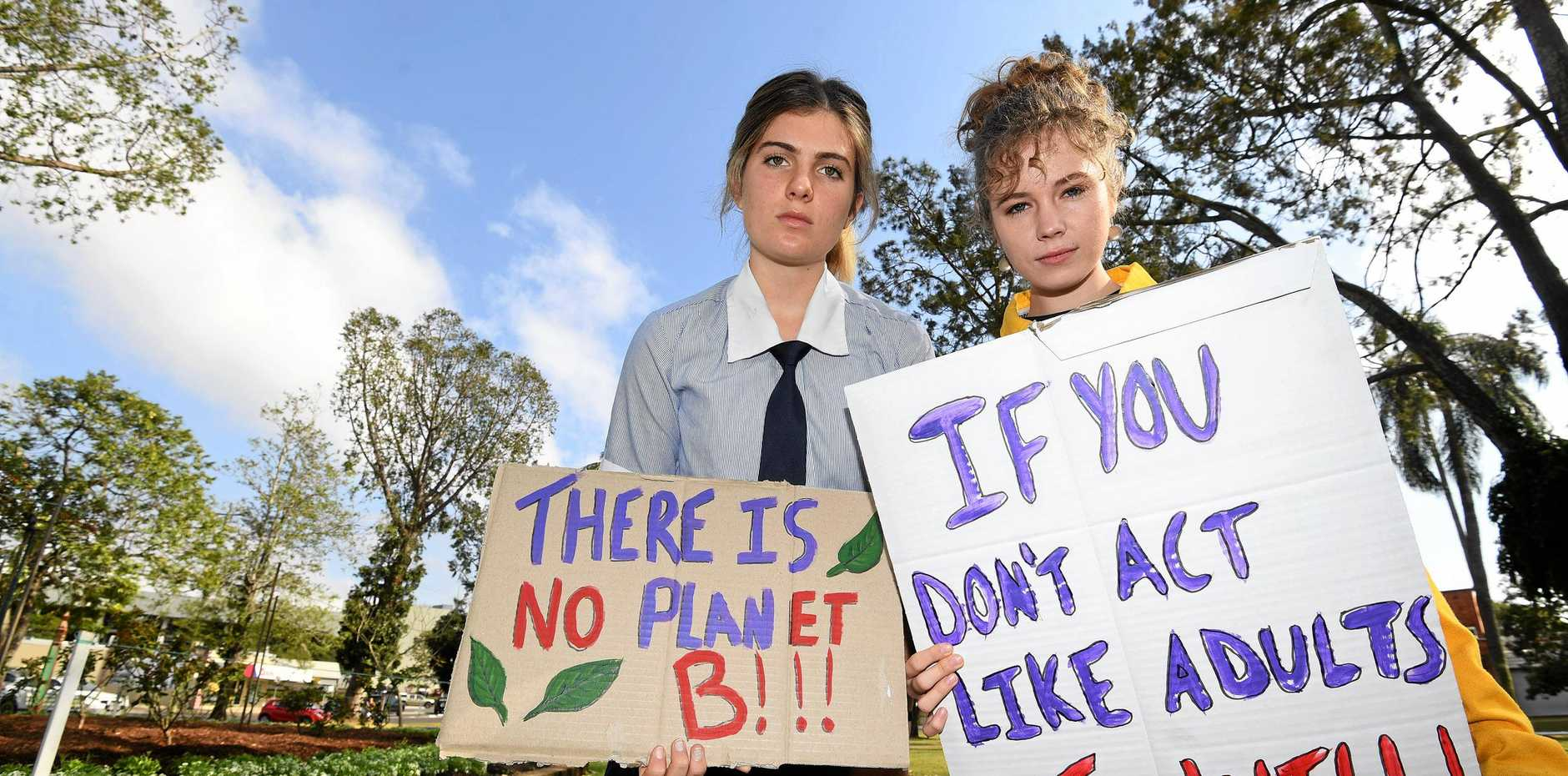 IT'S TIME TO ACT: St Patrick's College student Shellie Joseph and Gympie State High School student Echo Hunter-Demecs will play an influential role in today's Climate Strike at Cotton Tree Park, where more than 1700 people have flagged they're