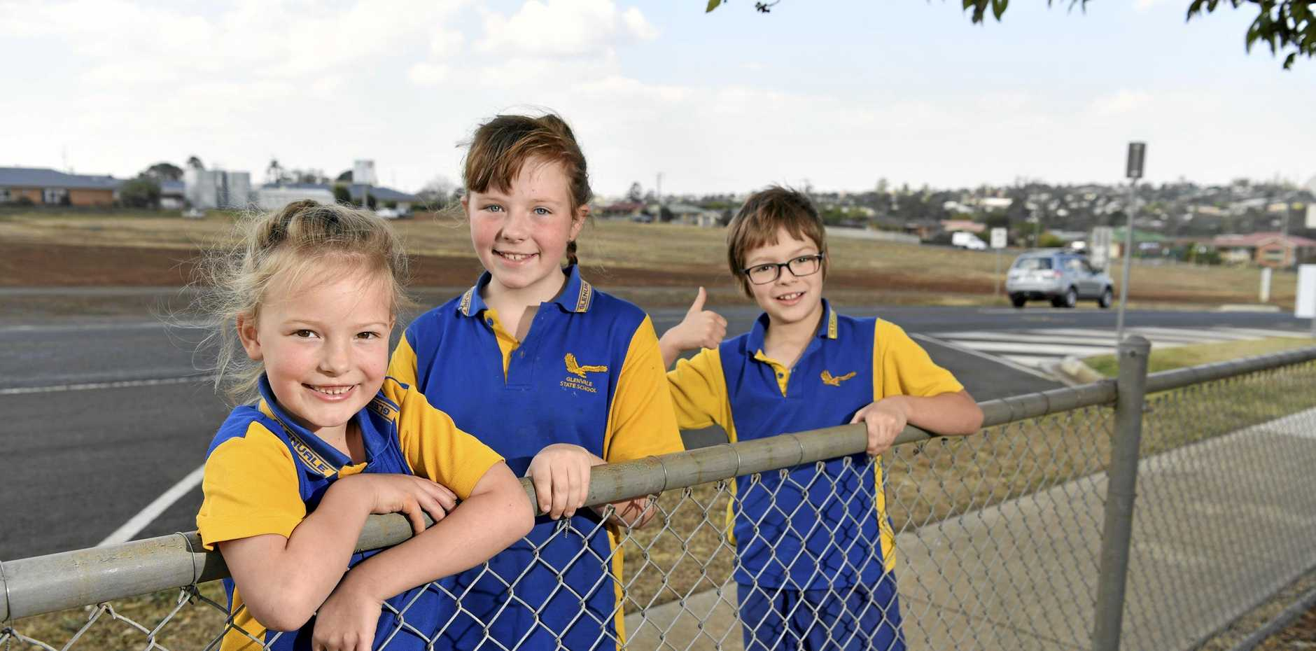 RESULTS: Excited for the new drop off and pick up carpark at Glenvale State School are siblings (from left) Rose, Maeve and Austin Greensill. Their mum Melissa was one of the prominent campaigners for the safety initiative.