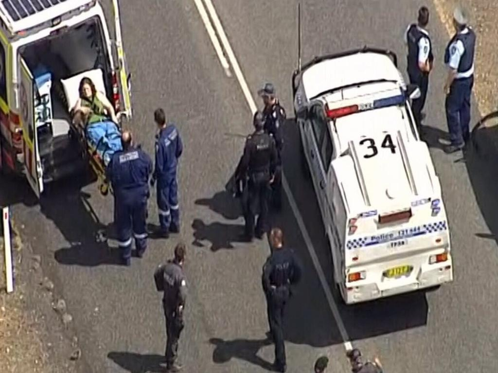 The aftermath of the armed standoff on the Bruxner Hwy. Picture: 9 News