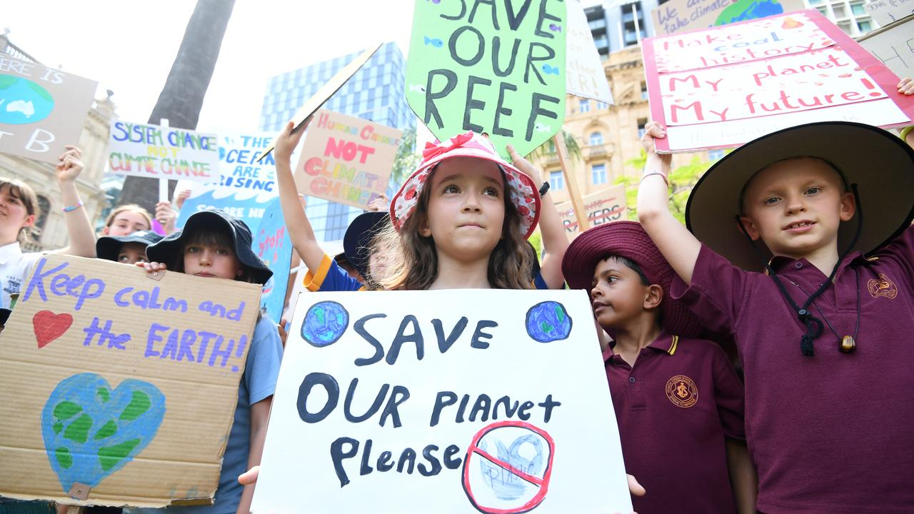 School students take part in the global #ClimateStrike rally in Brisbane in March 2019. Picture: AAP/Dan Peled