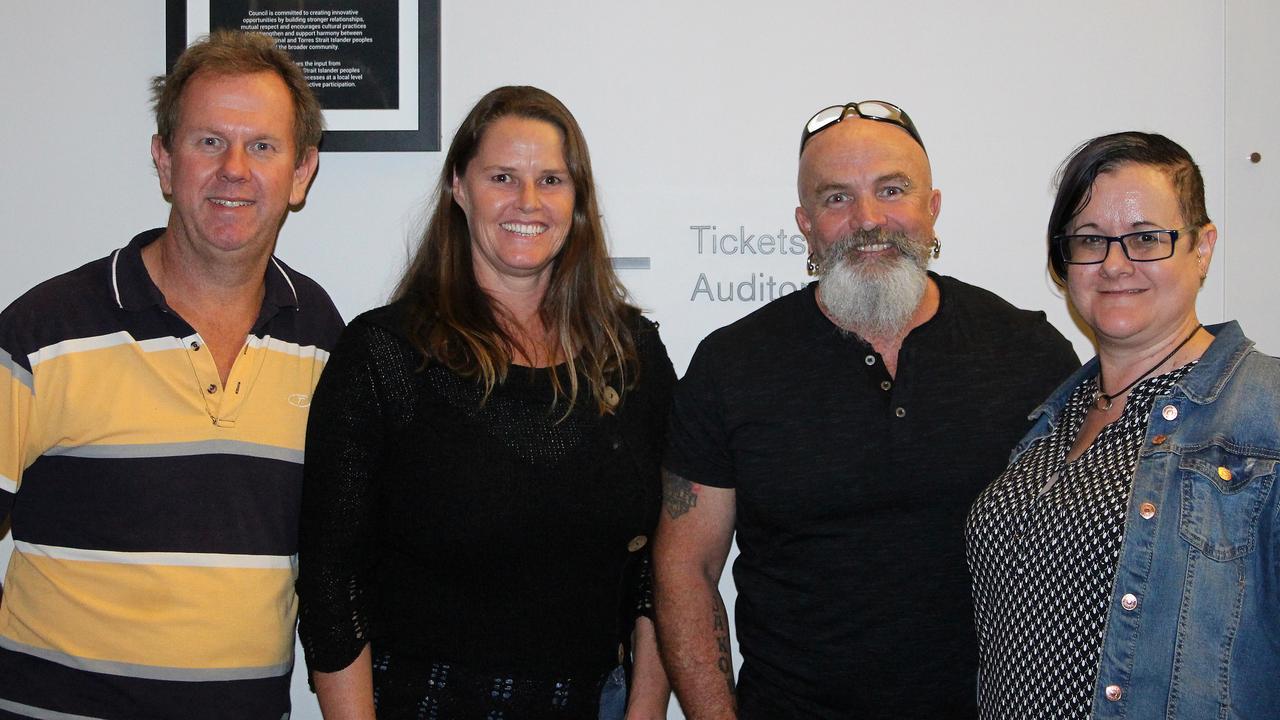 Henkrik Wangel, Martine Wangel, Lyndon Stevens and Jo Stevens at Jimmy Barnes's Shutting Down Your Town Tour concert at the MECC, Mackay. Photo: Steven Jesser