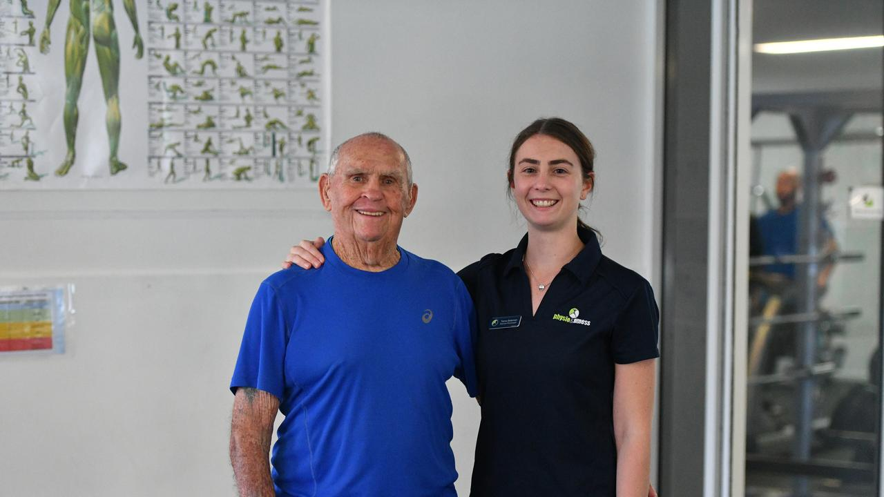 Lewis Weston, 90, and his exercise physiologist at Gladstone Physio & Fitness, Tiarna Bateman