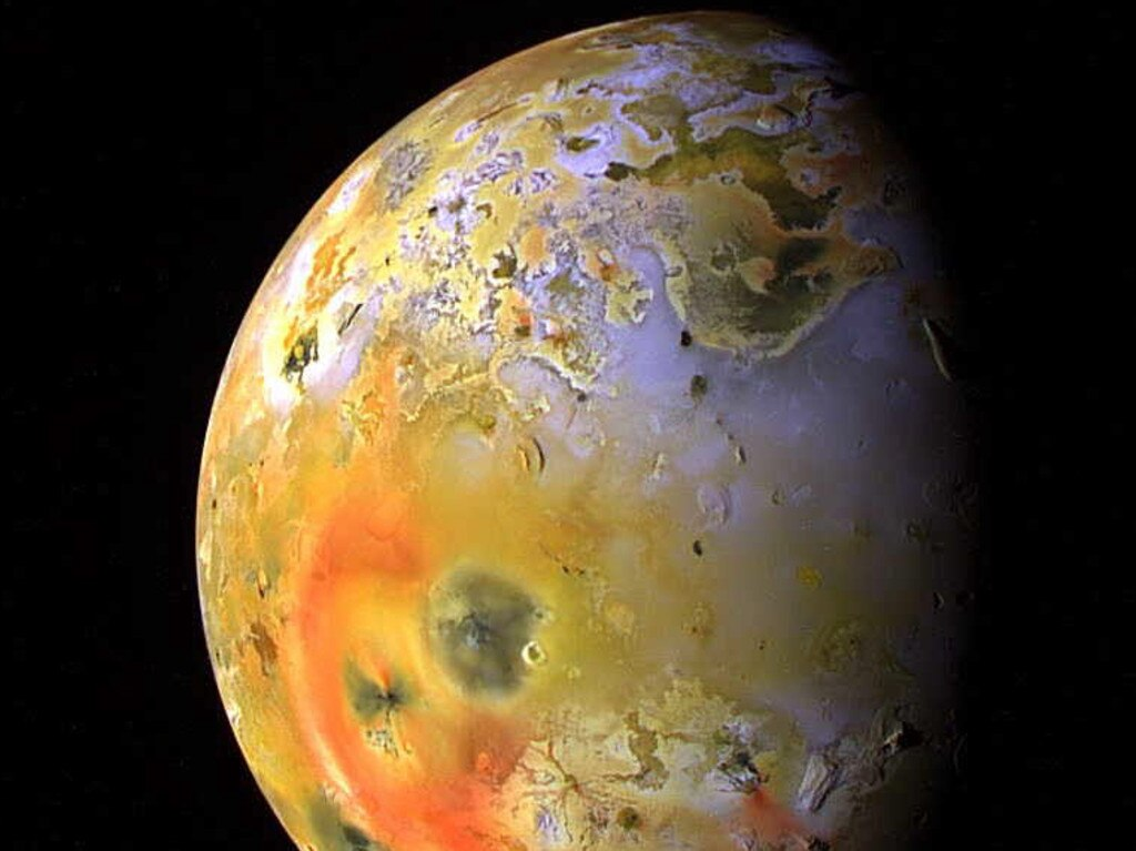 Io, 'the pizza moon', is the third largest of Jupiter's moons and very volcanic. Picture: Supplied.