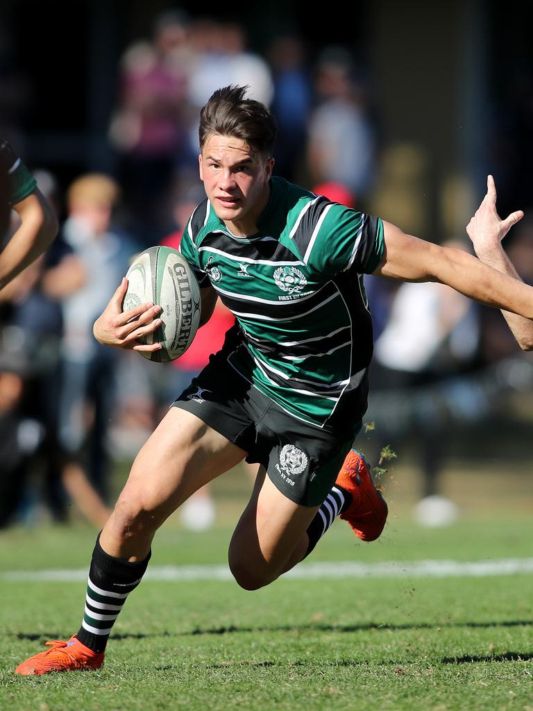 BBC's Jack Howarth pictured in action during Brisbane Boys' College vs Ipswich Grammar School rugby at BBC, Brisbane 17th of August 2019. Picture: AAP / Josh Woning