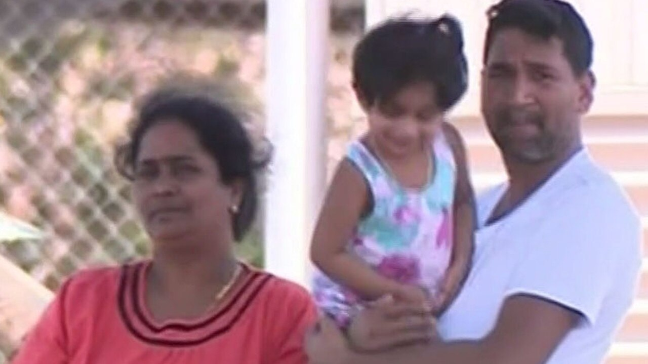 Tamil family from Biloela — (Father) Nadesalingam Murugapan, (mother) Kokilapathmapriya Nadarasa and their daughter Kopika, 4. Picture: Ten News