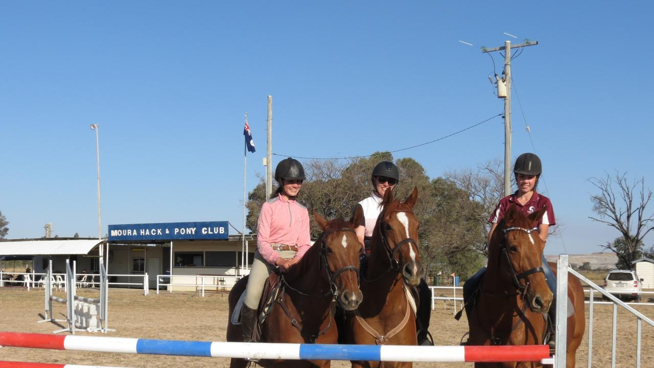 GOING STRONG: Lara Coombe, Evelyn Williamson and Georgie Coombe from Moura Hack and Pony Club have ridden at Australian Pony Club National Championship level. Picture: Contributed