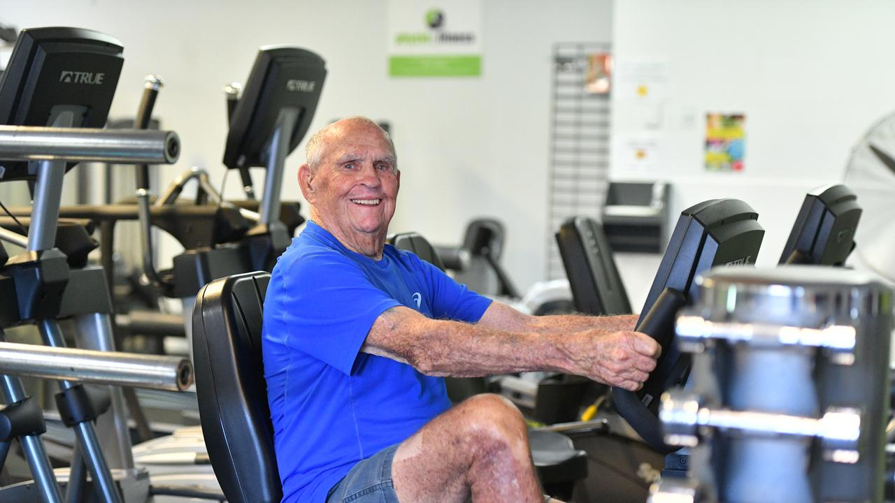 Lewis Weston, 90, on the bike at the Gladstone Physio & Fitness gym