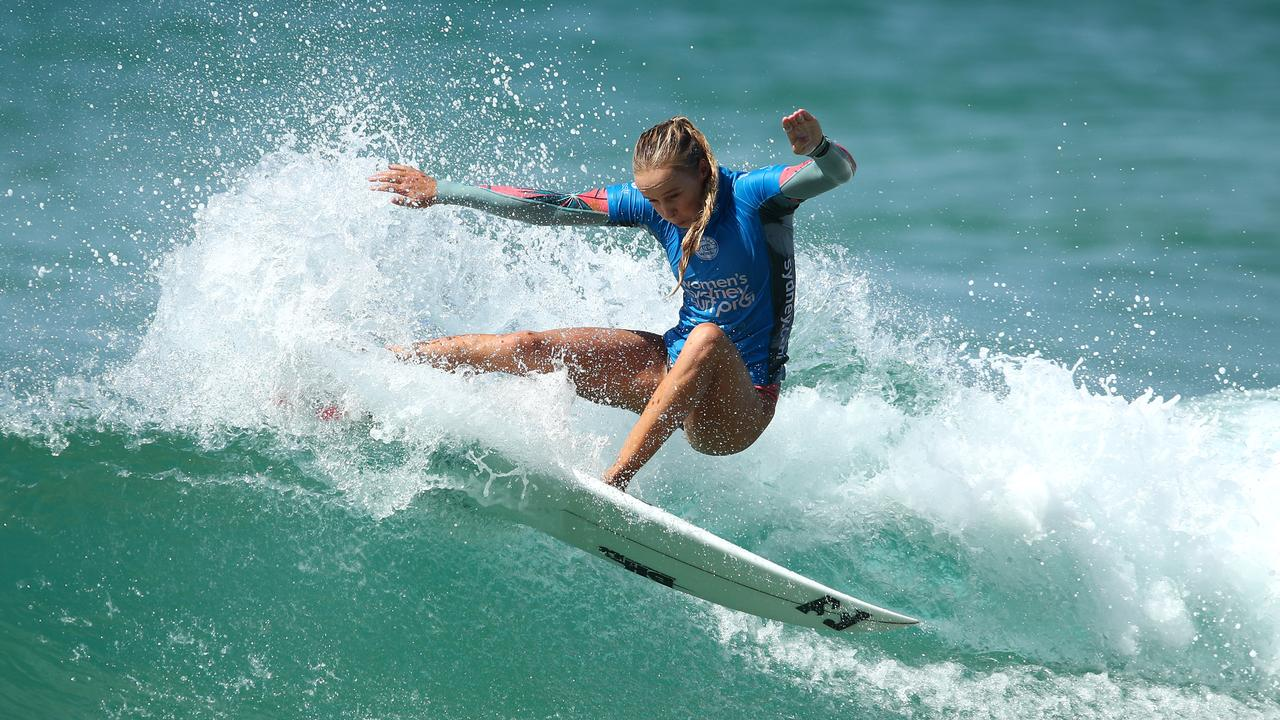 CHARGING: Isabella Nichols at the Sydney Surf Pro at Manly Beach in March. (Photo by Cameron Spencer/Getty Images)
