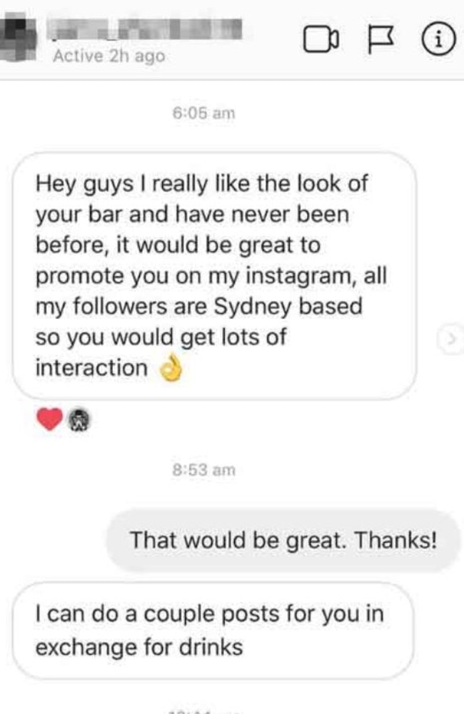 The exchange starts off politely enough until the influencer makes it clear he's after free drinks.