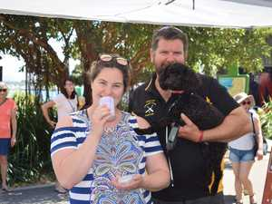 Sarah Lowe and Glen Gemmell with Peppie, 2, at the