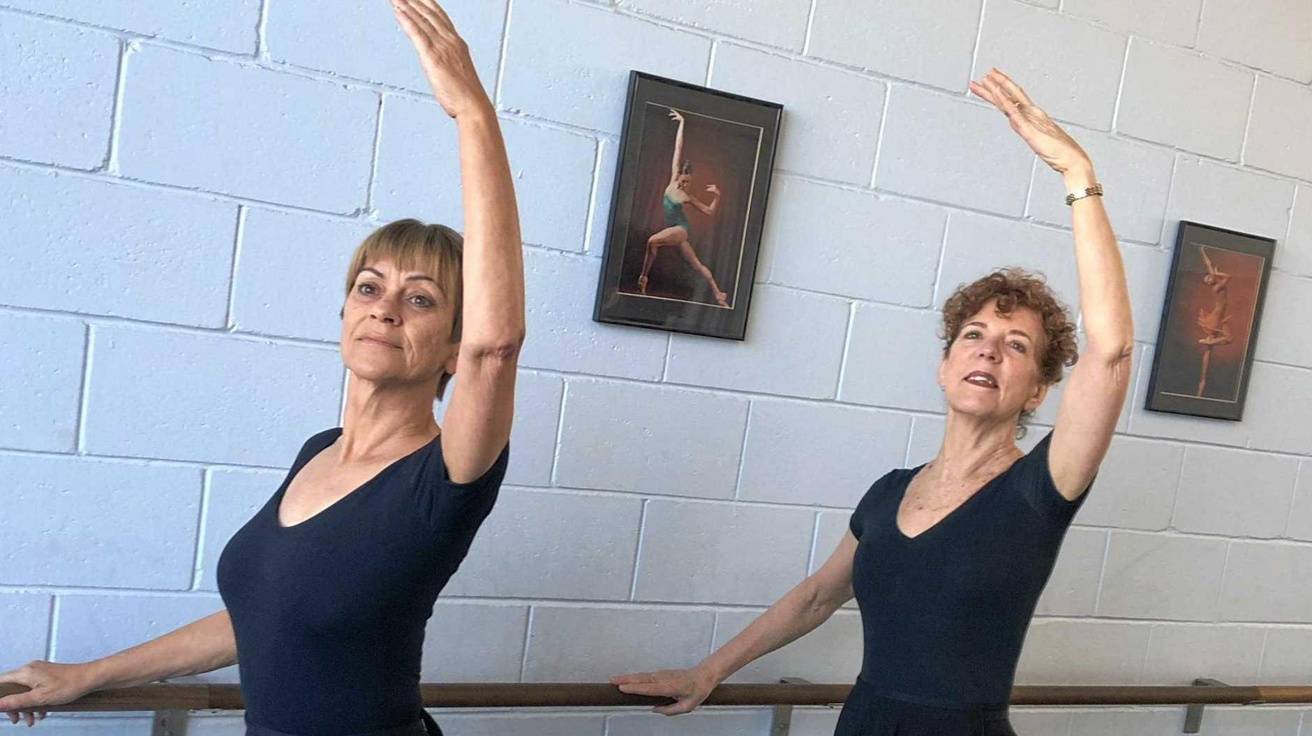 SENIOR BALLERINAS: Adult Dance Circle's Birgit Lohmann and Glenda Campi.