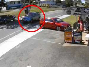 WATCH: Terrifying moment man nearly run over in Gympie crash