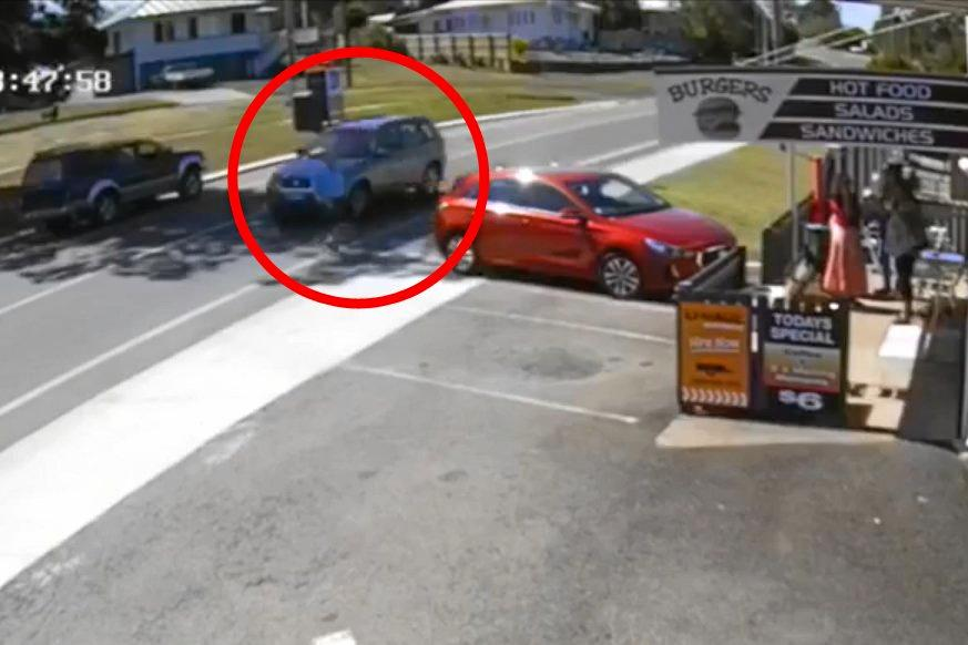 CLOSE CALL: CCTV footage shows a pedestrian was almost run over by a car which went on to crash in Louisa St on Wednesday.
