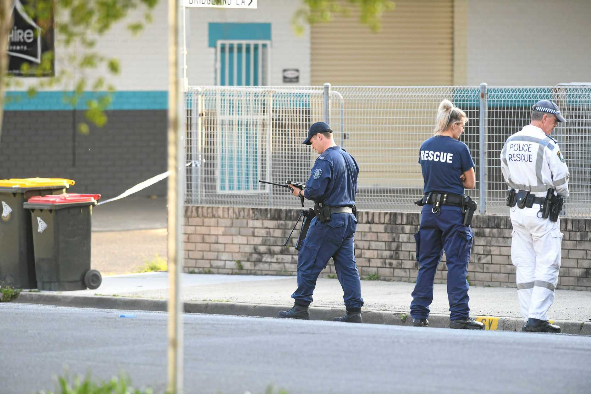 Police use specialised equipment to disarm a improvised explosion device at Mullumbimby.