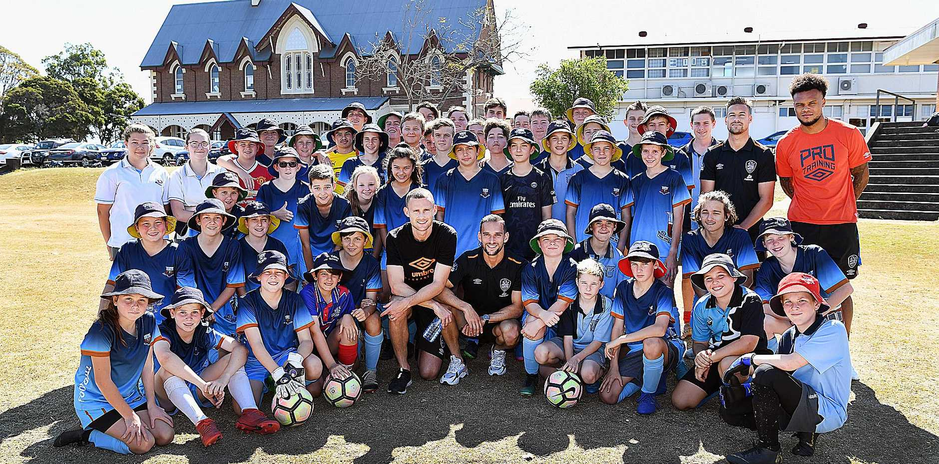 STARS OF THE FUTURE: Maryborough State High football stars of the future with Brisbane Roar players Daniel Bowles, Jack Hingert, Jai Ingham and Aaron Holloway.
