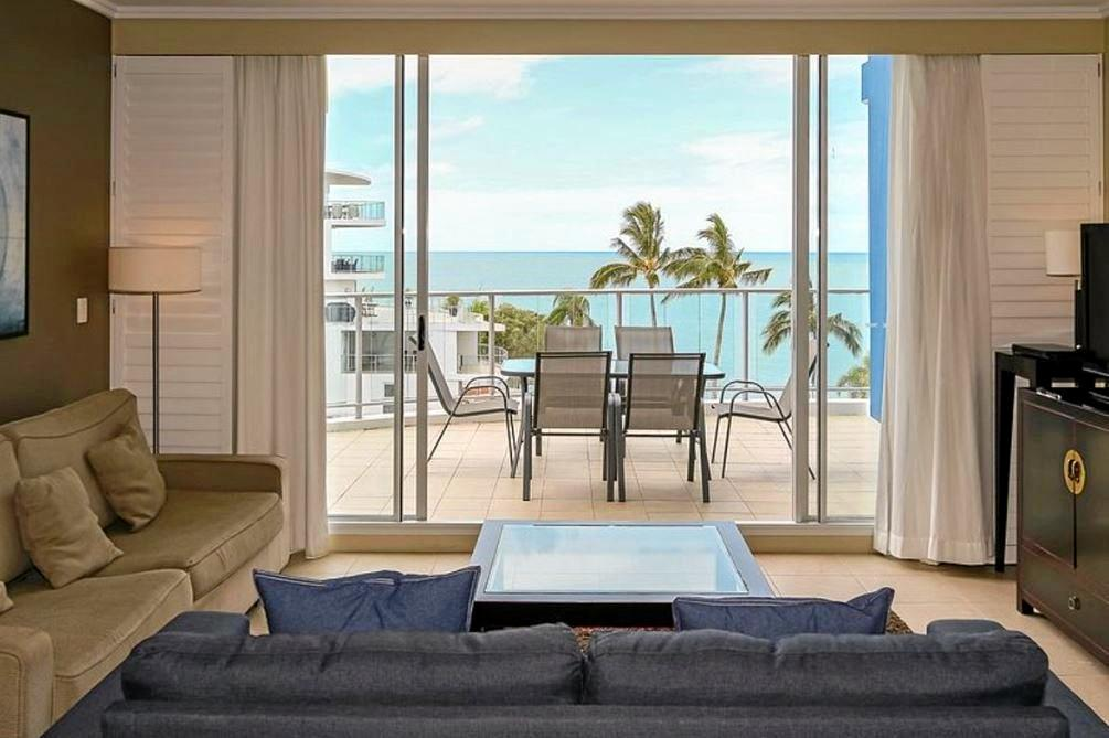 This unit offers fourth-floor ocean views for $350,000 at 569-571 Esplanade, Urangan. This sub-penthouse at Oceans Resort comes with access to pools, gymnasium and a day spa.  -Damian Raxach, One Agency