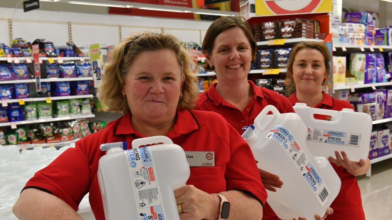 Coles Tannum Sands sales coordinator Lisa Kenney, Gladstone store manager Thea Nitschke and Tannum Sands store manager Jade Watts have organised a community donation of water to residents in need in Miriam Vale.
