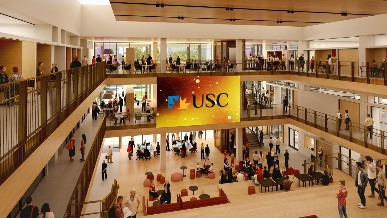 University of the Sunshine Coast USC Petrie campus foundation building. Illustration: Hassell Studio