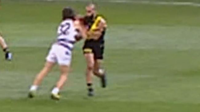 Bachar Houli and Gryan Miers make contact on Friday night.