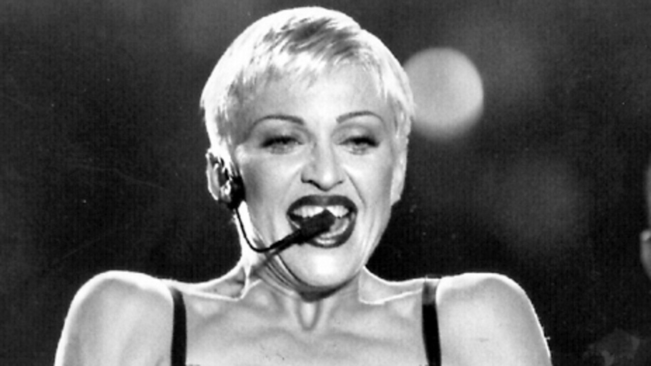 Madonna performing concert in Sydney during her 1993 Australian tour, the year she asked Dennis Rodman to impregnate her. Picture: Supplied