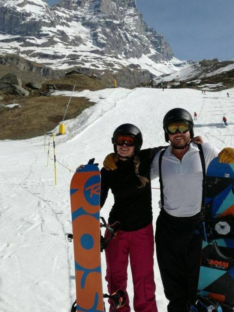 Karen and Matthew Turner on a snowboarding trip. Picture: Facebook