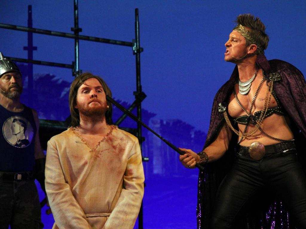 Grant Wolf Whitfield as Pontius Pilate in Jesus Christ Superstar at the Pilbeam Theatre in 2014