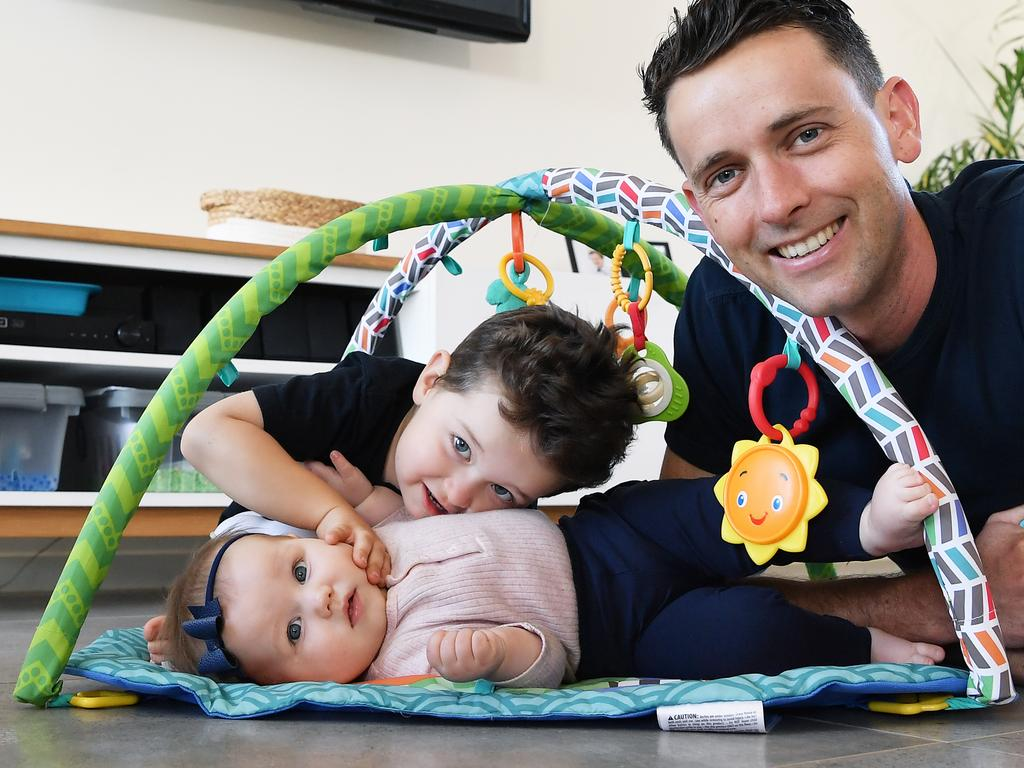 James Hollands, of Lust Mineral Cosmetics and Sunshine Coast Mowers Caloundra, at home with his two children, Thomas, 3, and Sophia, 7 months. Photo Patrick Woods / Sunshine Coast Daily.