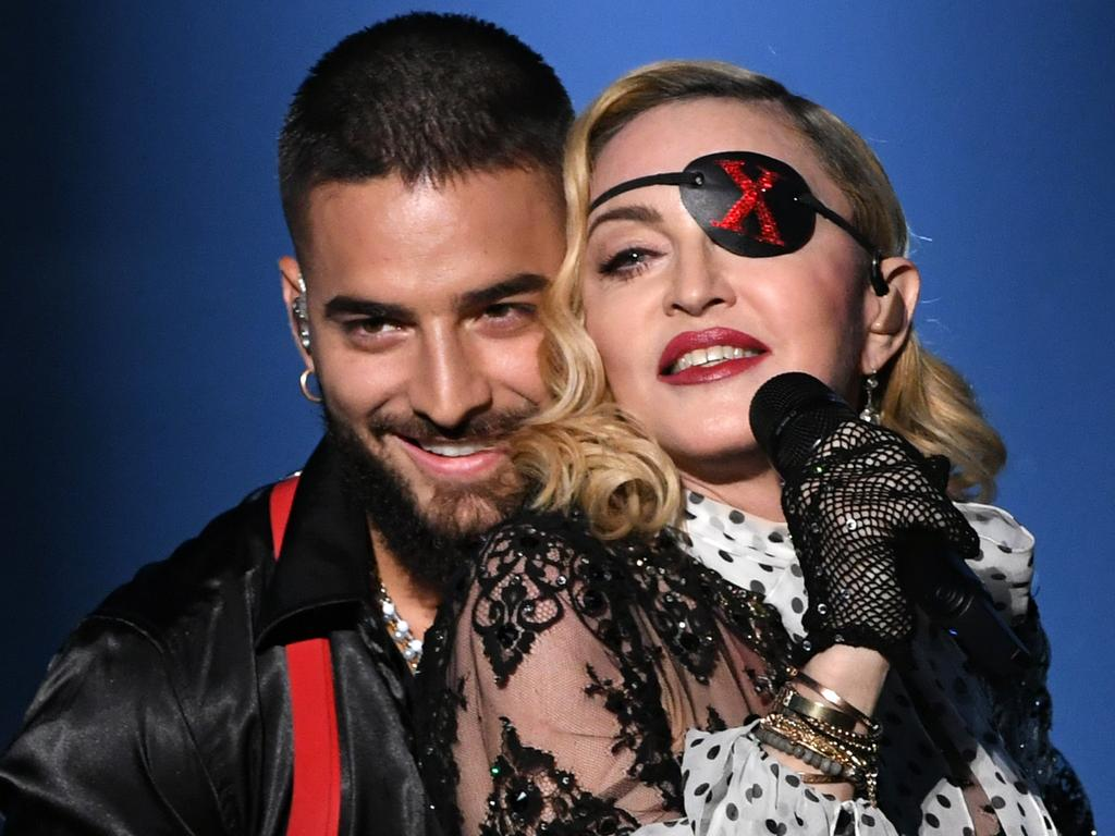 Maluma and Madonna perform onstage during the 2019 Billboard Music Awards at MGM Grand Garden Arena. Picture: Kevin Winter/Getty Images