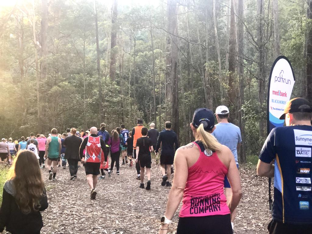 Tony sets off with the crowd on his 300th Parkrun in Nambour