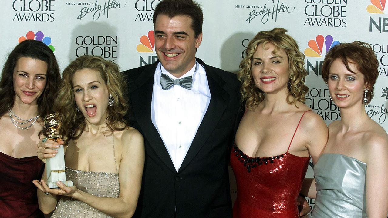 The cast of Sex and the City (from left): Kristin Davis, Sarah Jessica Parker, Chris Noth, Kim Cattrall and Cynthia Nixon. Noth is to be a father at 64. Picture: Supplied