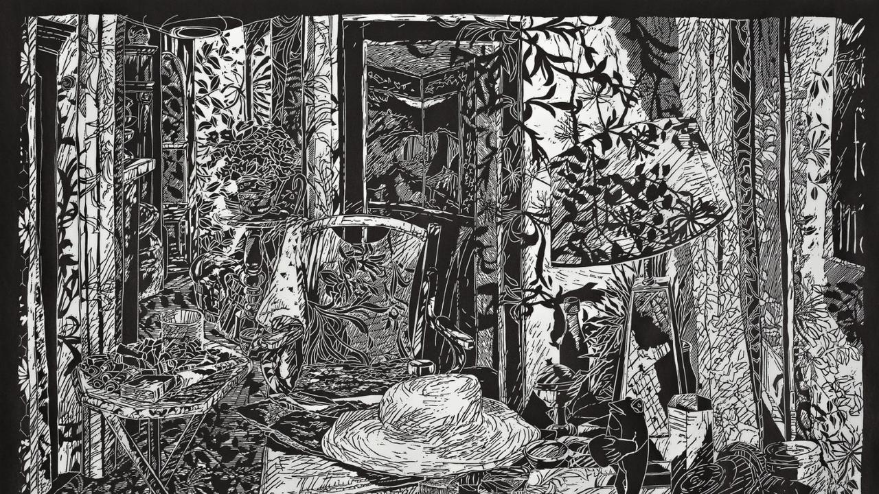 Christine Druitt-Preston, Olley Land - Yellow room 2019, lino block print on Wenzhou paper ed.5 editioned Brenda Tye 50 x 71cm. Image courtesy the artist.