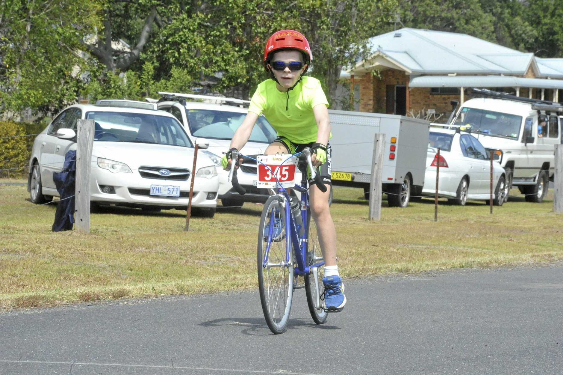 YOUNG GUN: Thomas Brady-Smith hits his straps in the opening hours of the Clarence Valley Ride for Youth at the Junction Hill criterium track on Saturday.
